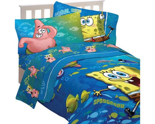51 Llc Spongebob Squarepants Fish Swirl 5pc Full Bedding Set Kids
