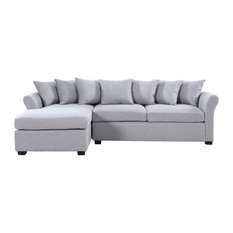 Modern Large Linen Sectional Sofa with Extra Wide Chaise Lounge, Gray