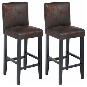 Set of 2 Bar Stools, Black Faux Leather With Black Legs, Back and Footrest