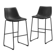 Pemberly Row Faux Leather Bar Stool In Black (Set Of 2)