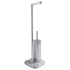 Marble Free-Standing Athena Toilet Roll Holder and Toilet Brush Combo