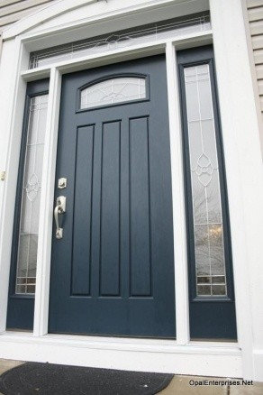 Black Front Door with decorative arch top window   Front DoorsEntry Doors   Front Doors. Front Doors With Windows On Top. Home Design Ideas