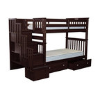 Bedz King Bunk Beds Twin Over Twin Stairway, 4 Step, 2 Bed Drawers, Cappuccino