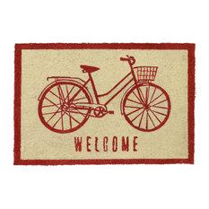 "Filmore Coir 24""x36"" Fiber Doormat, Red by Kosas Home"