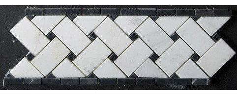 Basketweave Marble w. Black Dot Mosaic - Tile