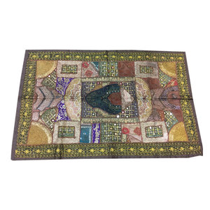Mogulinterior - Indian Vintage Style Embroidered Yellow Patchwork  Wall Tapestry - Tapestries