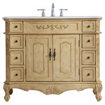 """Elegant Decor - Elegant Decor 42"""" Single Bathroom Vanity - Elegant Decor VF10142AB 42 inch Single Bathroom Vanity in Light Antique BeigeThe Danville collection 42"""" vanity in an antique beige finish brings about traditional beauty. Decorated with ornate filigrees and engravings throughout, your bathroom or powder room will exude refined beauty. Don't let the design fool you, the white marble countertop with subtle occasional coffee color veins and porcelain undermount sink allows for space to get ready, while the antique bronze hardware allows you to discover storage spaces with ease. The simple knobs allows you to glide the 8 side drawers out, while the ornate knobs help you open the two center cabinet doors. You and your guests will marvel at this vanity that will both store away your bathroom essentials and enhance the aesthetics of your room. Collection: DanvilleFinish: antique beigeDimension(in): 42(L) x 36(H) x 42(Dia) x 21(Depth)Hardware Finish: antique bronzeHardware Material: metalBase Material: MDFBase Finish: light beigeCountertop Material: MarbleCountertop Finish: White with occasional coffee color veinCountertop Dimension(in): 42(L) x 21(W) x 0.75(H)Countertop Edge Style: bevel edgeSink Material: PorcelainSink Dimension(in): 16""""(W) x 7(H) x 13""""(Depth)Sink Drain Hole Size(in): 1.75Sink drain distance from side edge of countertop(in): 21Sink Mounting Type: UndermountVanity Mounting Type: Free-StandingBacksplash Included? NoDrain assembly included: NoFaucet included: NoFaucet hole size (in): 1.5Faucet hole spacing (in): 8""""3 HolesWood Type: RubberwoodTop Material: marbleDrawers Included: NO Number of Drawers Included: 8Joinery Type: French"""