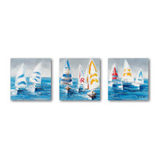 """Colorful Sailboats II"" Hand Painted Canvas Art, 20""x20""x1.5"", 3-Piece Set"