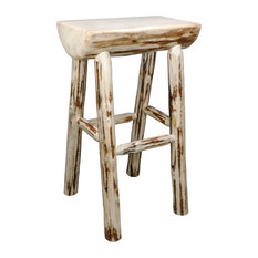 Montana Collection Half Log Barstool Clear Lacquer Finish