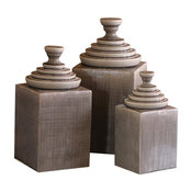 3-Piece Gray Textured Ceramic Canister Set With Pyramid Tops