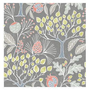 Groovy Garden Gray Peel and Stick Wallpaper, Yard