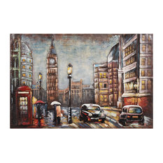 """City Street"" Mixed Media Iron Hand Painted Dimensional Wall Art"