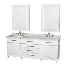 "Wyndham Collection, Berkeley 80"" Double Bathroom Vanity, White"