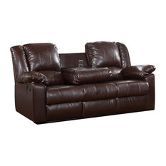 Residence - Finch Recliner Sofa With Drop-Down Console, Dark Brown - Sofas