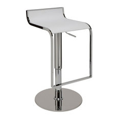 Alexander Adjustable Bar Stool, Modern Contemporary Counter Stool Leather, White