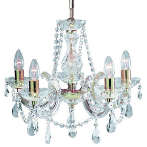 Marie 5-Arm Crystal Glass Chandelier, Polished Brass