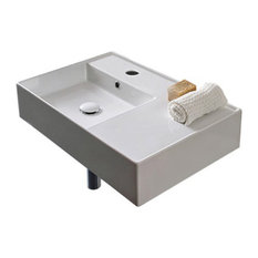 Ceramic Wall Mount or Vessel Bathroom Sinks With Counterspace, One Hole