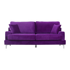 Divano Roma Furniture   Plush Velvet Living Room Sofa, Purple   Sofas