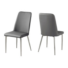 Leather-Look Dining Chair With Chrome Base, Set of 2, Gray/Chrome