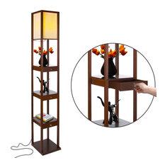 Brightech Maxwell Drawer Edition - Shelf & LED Floor Lamp Combination, Havana Br