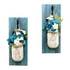 Blue Bayou Mason Jar Wall Sconces Floral Arrangements, Set of 2