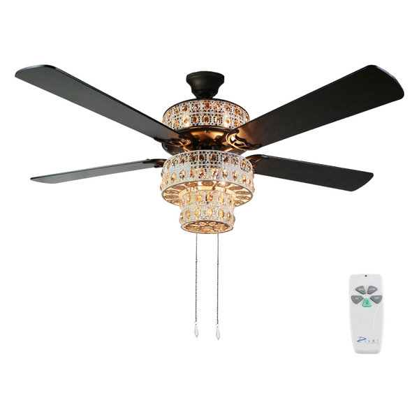 Antique White and Champagne Crystal Ceiling Fan, With Remote