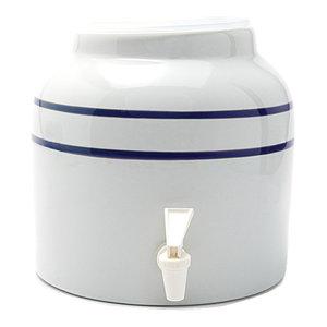 Goldwell Enterprises Inc 2.5 Gal Blue Stripe Porcelain Water Dispenser Crock