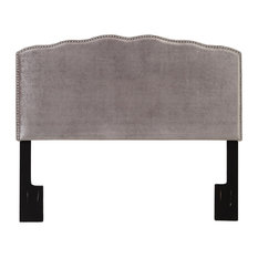 HomeFare - Isabel Nailhead Upholstered Headboard, King, Velvet Shimmer - Headboards