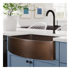 """Ultra Thick 12-Gauge Luxury 33"""" Dark Copper Farmhouse Sink, Incl. Grid and Drain"""