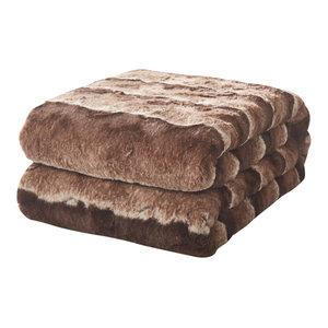 "Tache Golden Faux Fur Sherpa Throw Blanket, 63""x87"""