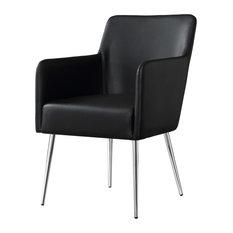 Fergo Dining Chair, Set of 2, Black Leather Pu, Arm Chair, Leg: Chrome