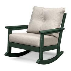 POLYWOOD Vineyard Deep Seating Rocking Chair, Green/Cast Ash