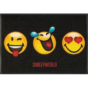 Smiley 3-Faces Door Mat, 75x50 cm