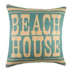 Beach House Burlap Pillow, Blue