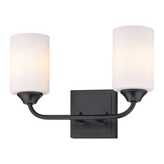 Ormond 2 Light Bath Vanity, Matte Black With Cylindrical Opal Glass