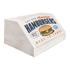 Hamburgers Wooden Bread Bin