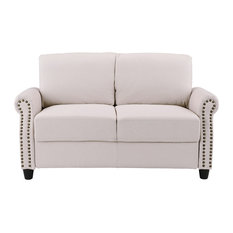 Sofamania - Classic Linen Loveseat With Nailhead Trim and Storage Space, Beige - Loveseats