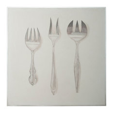 "GuildMaster 1617015 50"" by 50"" Framed Hand Painted Silverware - White"