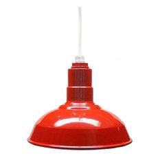 "12"" Standard Steel Warehouse Style Pendant Light, Red, White Cord"