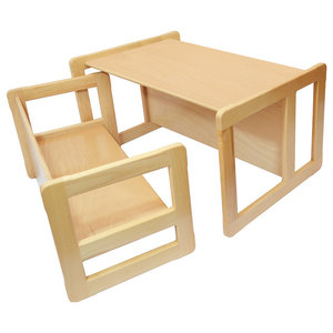 3 in 1 Kids Set of Bench and Table, Natural