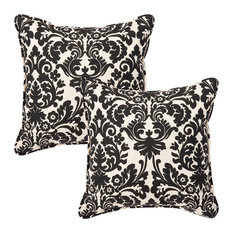 "Essence Black Beige 18.5"" Throw Pillow, Set of 2"