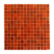 "Red Snappy Red Glass Mosaic Wall Tile, 12""x12.13"" Single Sheet"