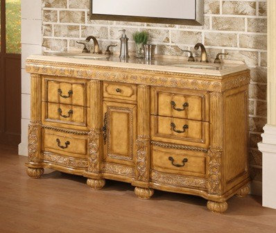 Avola 60 inch Antique Bathroom Vanity Cream Marble Top   Bathroom Vanities  And Sink Consoles. Antique Bathroom Vanities