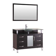 LessCare Vanity Cabinet LV1-42B With Sink Glass Top and Mirror