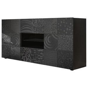 Miro Decorative Sideboard, 181 cm, Grey Gloss