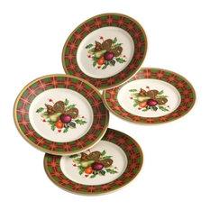 Lenox Holiday Tartan Set of 4 Ttbit Party Plates