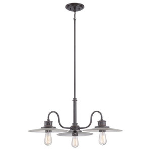 Ribbed Glass 3-Light Chandelier, Imperial Bronze
