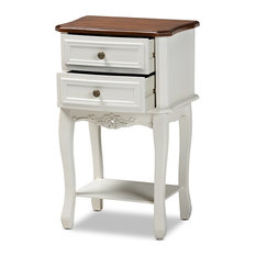 Darla French White And Cherry Brown Finished Wood 2-Drawer Nightstand