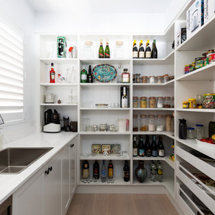 This is an example of a mid-sized beach style single-wall kitchen pantry in Sydney with a drop-in sink, recessed-panel cabinets, white cabinets, granite benchtops, white splashback, granite splashback, stainless steel appliances, light hardwood floors, beige floor and white benchtop.