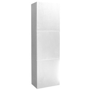 Fresca Black Bathroom Linen Side Cabinet With 3 Large Storage Areas, White